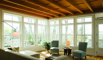 Contemporary furniture in sunroom